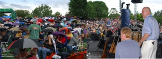 right: Crowd at the America Concert Left: Drummer and Michael Beckley, Gerry Beckley's brother - Copyright Mark Stout