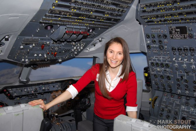 Woman in an airplane cockpit