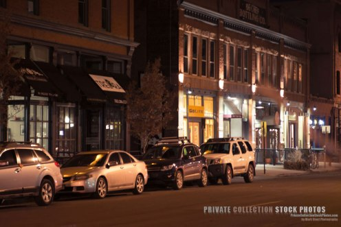 LoDo Denver at night, a quaint city street.  Exclusive rights managed stock photo.  Copyright Mark Stout
