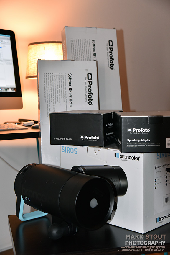 Broncolor and Profoto lighting arriving. What a fun set of boxes to open